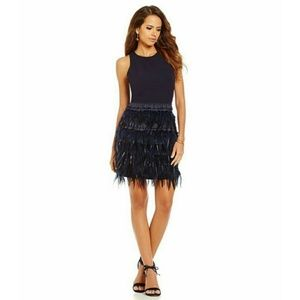 🆕GIANNI BINI Navy Lucy Ostrich Feather Dress